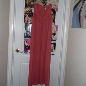 USED Forever 21:Rose pink silk lace maxi dress